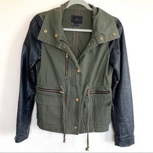 Timing Military Faux Leather Sleeve Jacket